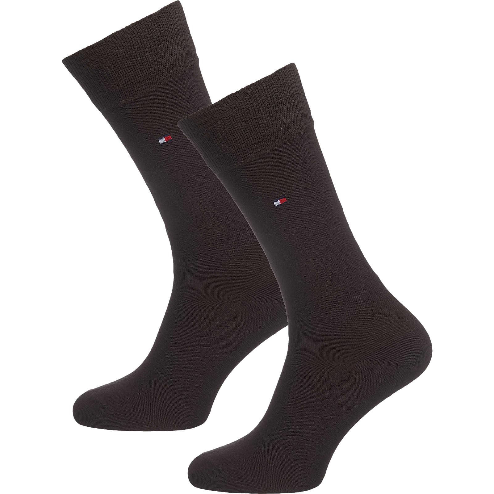 TOMMY HILFIGER 2 Paar Socken dunkelbraun Herren Gr. 43-46