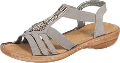 2018 Damen Rieker Schuhe Dunkelgrau Exklusiv Sandaletten Für
