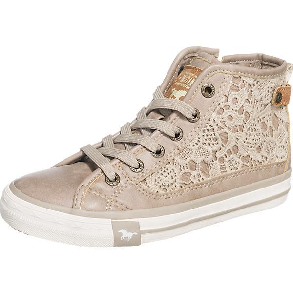 MUSTANG Sneakers High mit Spitzendetails für Mädchen hellbraun