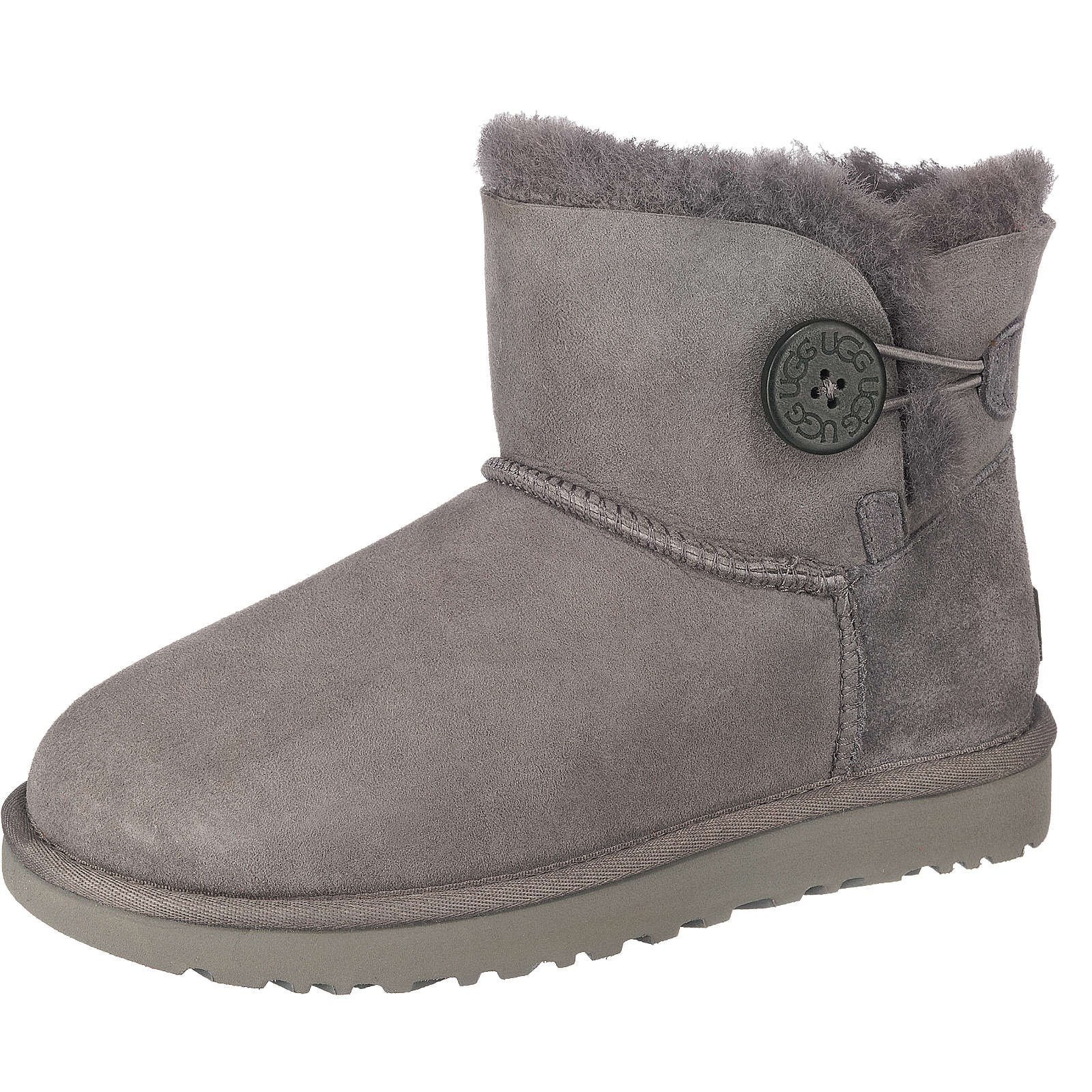UGG W MINI BAILEY BUTTON II Winterstiefeletten grau Damen Gr. 38