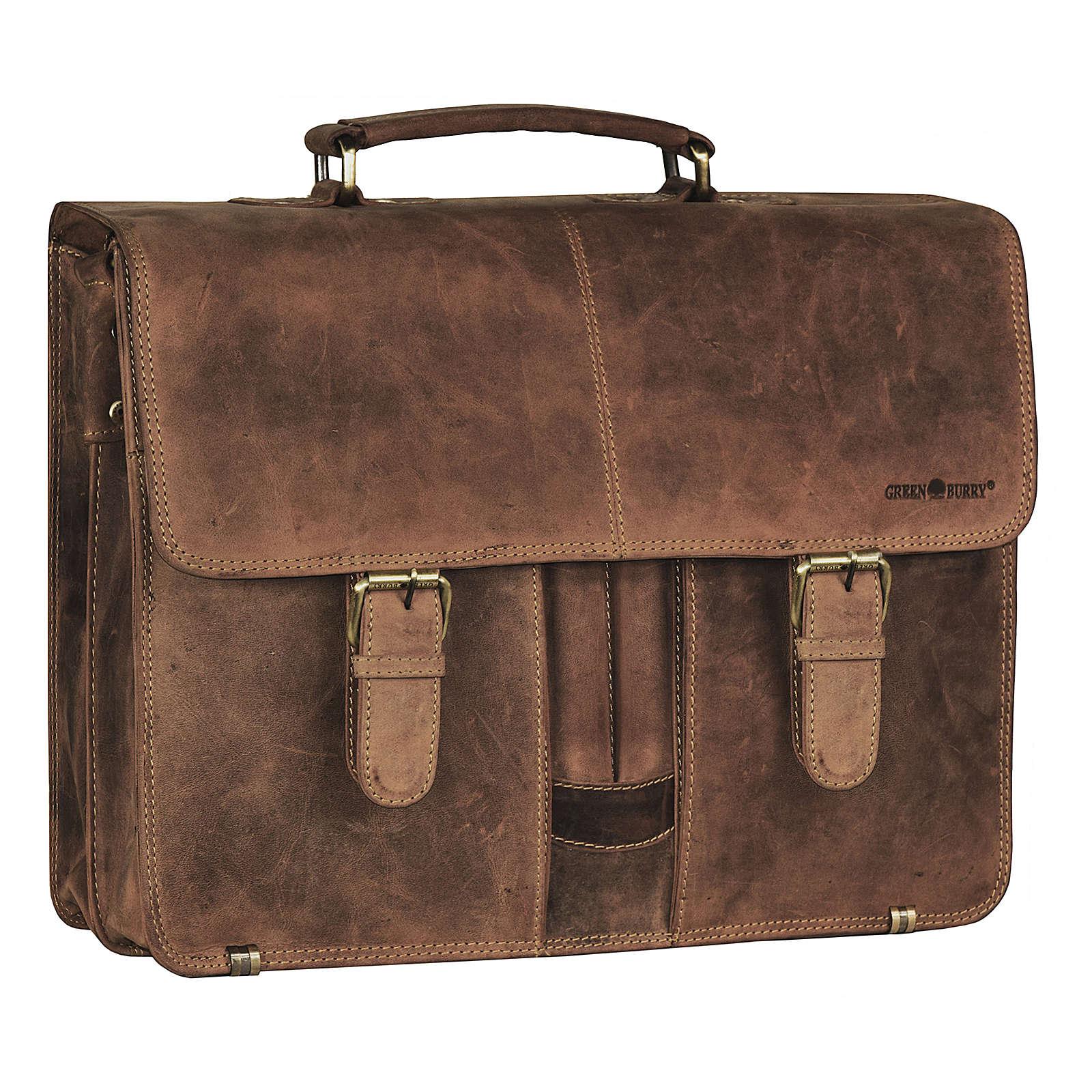 Greenburry Vintage XL Aktentasche Leder 40 cm Laptopfach mit 2 Hauptfächern und Frontstiftelaschen braun