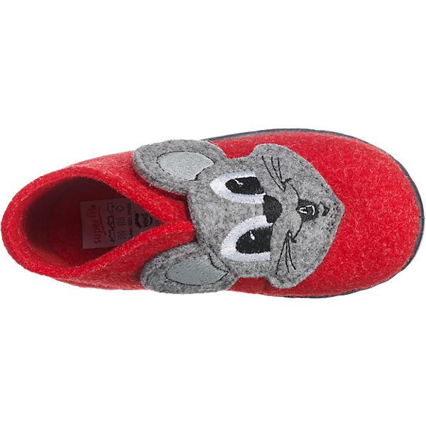 superfit Kinder Hausschuhe HAPPY, WMS-Weite M4 rot