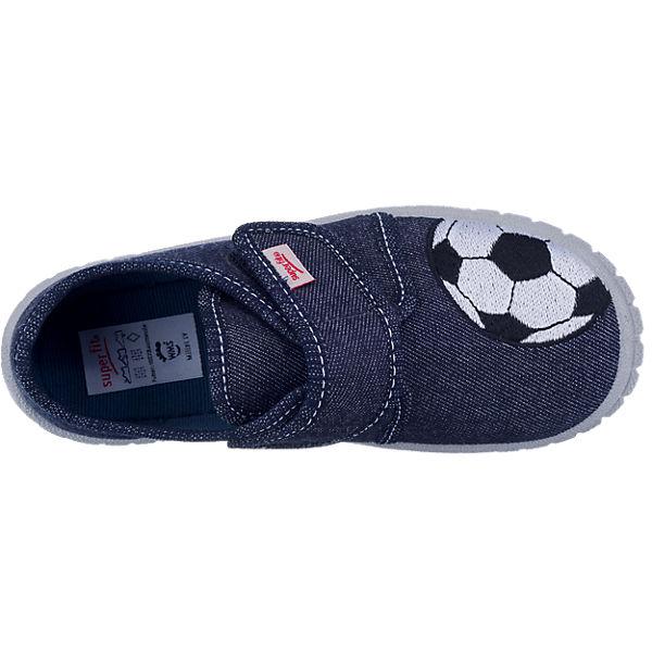 superfit Hausschuhe BILL für Jungen, Fußball, Weite M4 dunkelblau