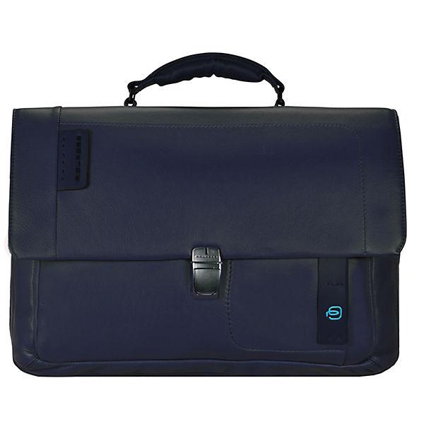 Piquadro Piquadro Pulse Messenger Leder 41 cm Laptopfach blau