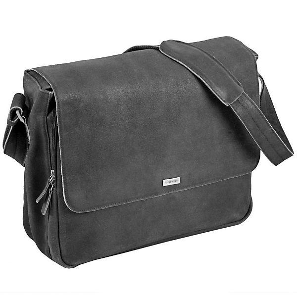 Plevier Plevier 30er Serie Messengerbag Leder 41 cm Laptopfach schwarz