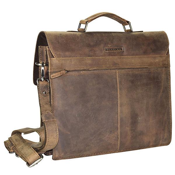 Harold's Harold's Antik Casual Aktentasche Leder 40 cm Laptopfach braun