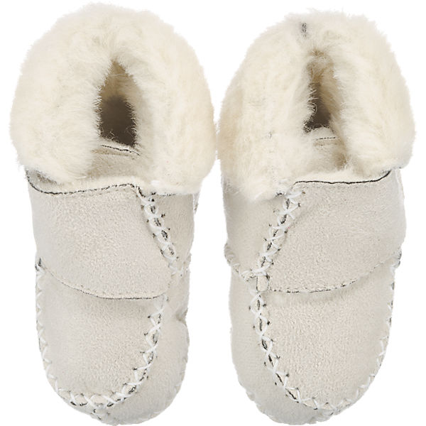 Playshoes Baby Krabbelschuhe in Lammfell-Optik natur