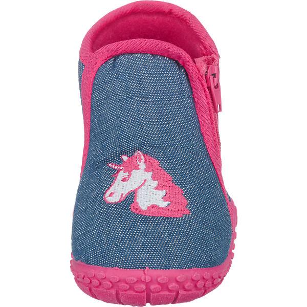 Playshoes Baby Hausschuhe Einhorn blau-kombi