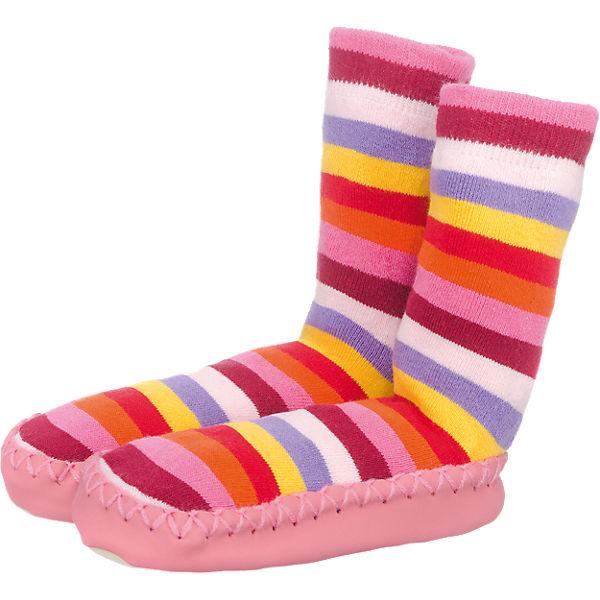 Playshoes Kinder Hausschuhe Ringel rosa