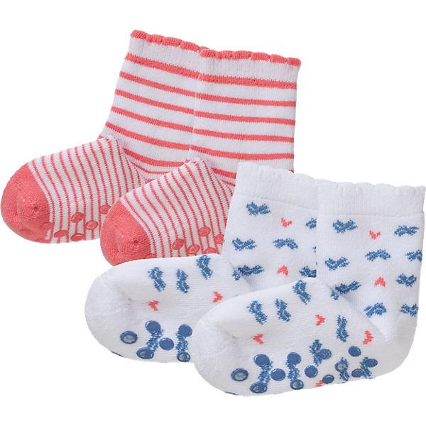 SCHIESSER Baby Strümpfe Doppelpack für Mädchen rot/weiß Gr. 19-22
