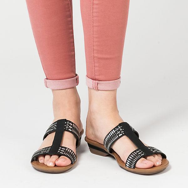 rieker Dehlistretch/Brushnubuk Komfort-Pantoletten schwarz
