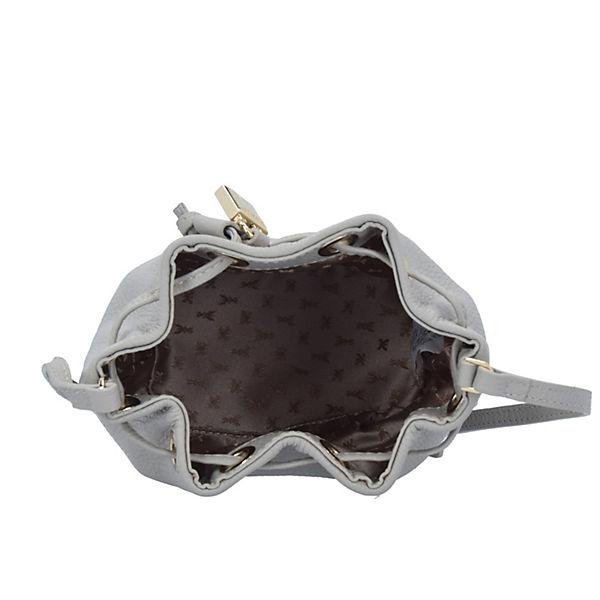 Patrizia Pepe Patrizia Pepe Lock Fly Mini Bag Beuteltasche Leder 15 cm grau