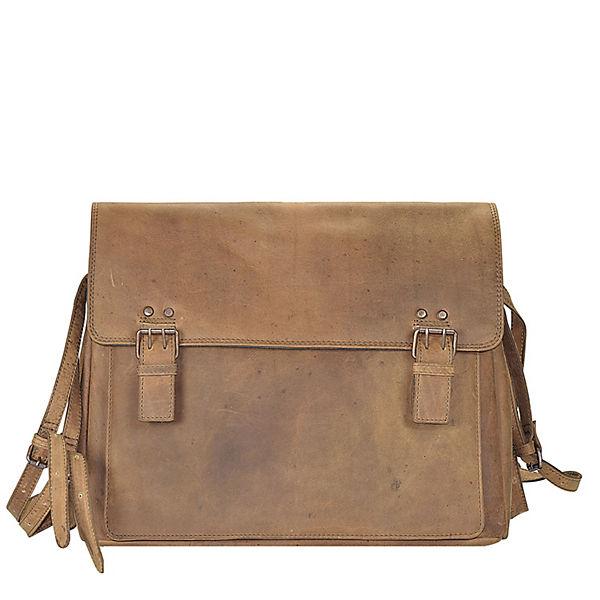 Harold's Harold's Antik Casual Messenger Leder 38 cm Laptopfach braun