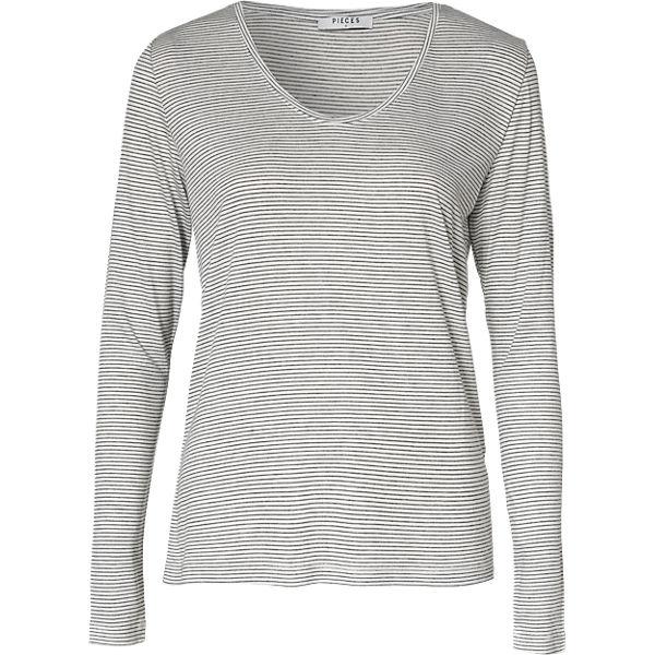 pieces Langarmshirt schwarz/weiß