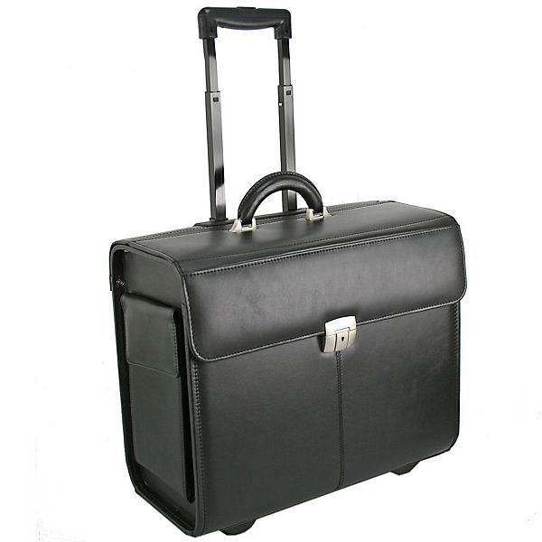 Dermata Dermata Pilotenkoffer Trolley Leder 45 cm Laptopfach schwarz