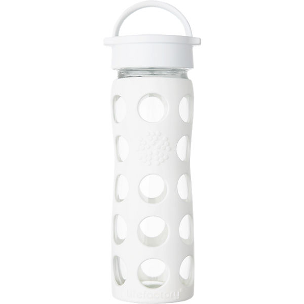 Lifefactory Trinkflasche Glas Optic White Classic Cap, 475 ml