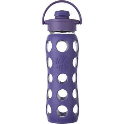 Lifefactory Trinkflasche Glas Royal Purple Flip Top Cap, 650 ml