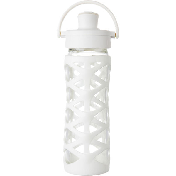 Lifefactory Trinkflasche Glas Optic White Active Flip Cap, 475 ml