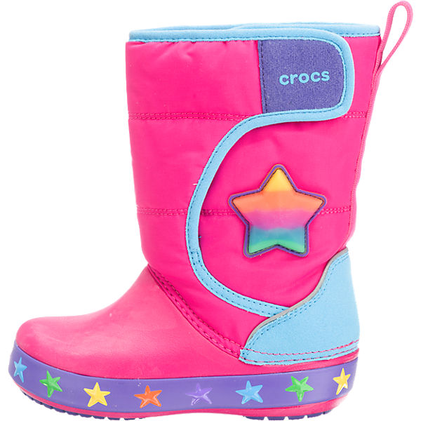 crocs winterstiefel lodgepoint lights star f r m dchen blinkies gef ttert pink mirapodo. Black Bedroom Furniture Sets. Home Design Ideas