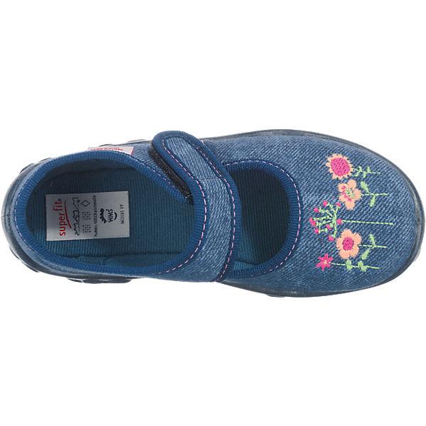 superfit Hausschuhe BONNY für Mädchen, Weite M4, Blumen dunkelblau