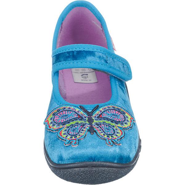 superfit Hausschuhe BELINDA für Mädchen, Weite M3, Schmetterling türkis