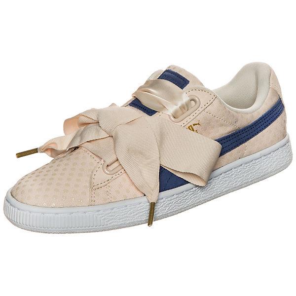 PUMA Puma Basket Heart Denim Sneaker beige