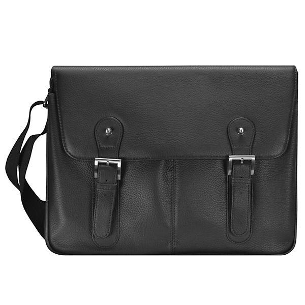 D&N D&N Basic Messenger Tasche Leder 40 cm Laptopfach schwarz