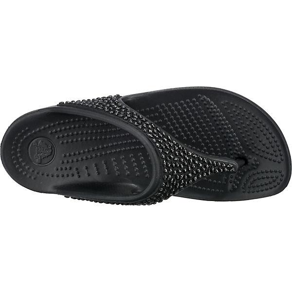 Embellished Flip Crocs Sloane crocs Blk schwarz Blk Zehentrenner xBOEq