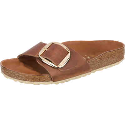 Madrid Big Buckle Leder Pantoletten schmal