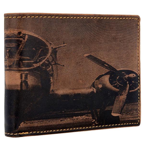 Greenburry Greenburry Vintage Aeroplane Geldbörse Leder 12,5 cm braun