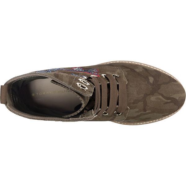 TOMMY HILFIGER, Stiefeletten, TOMMY HILFIGER Lo Manon Stiefeletten, HILFIGER, grün-kombi  Gute Qualität beliebte Schuhe 9540a1