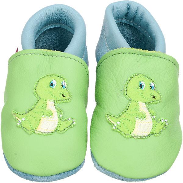 TROSTEL Krabbelschuhe für Jungen, Dino grün