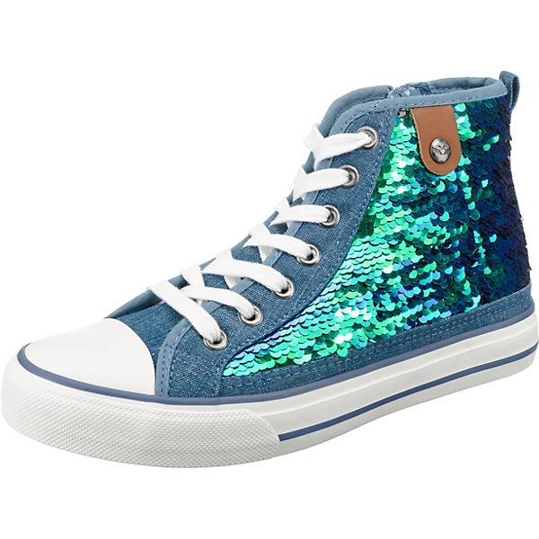 Sequin Sneakers grün Cap High Fritzi Hanna aus Toe Sneaker Preußen blau Yqpa40A