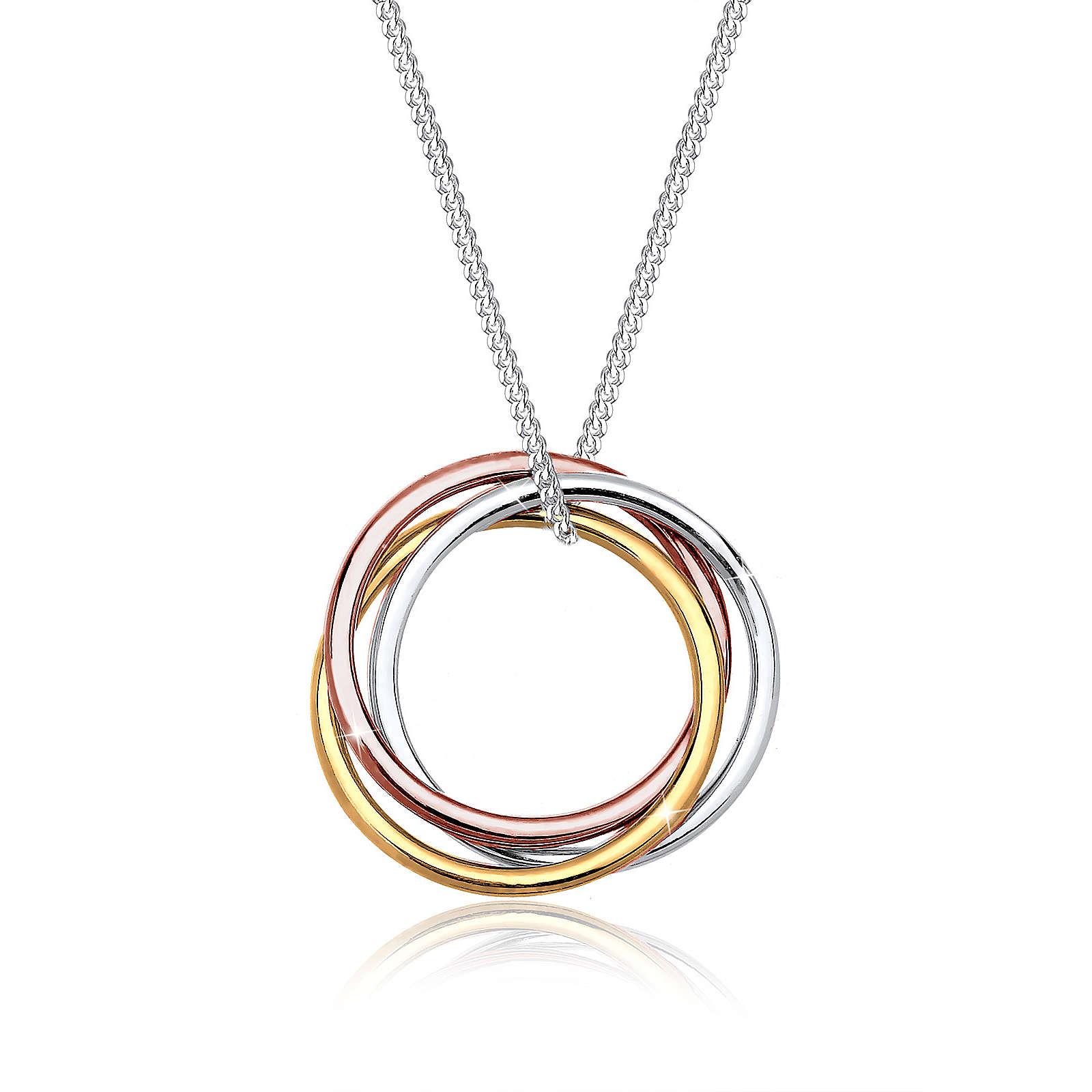 Elli Halskette Kreis Anhänger Tricolor Look 925 Sterling Silber Halsketten silber Damen