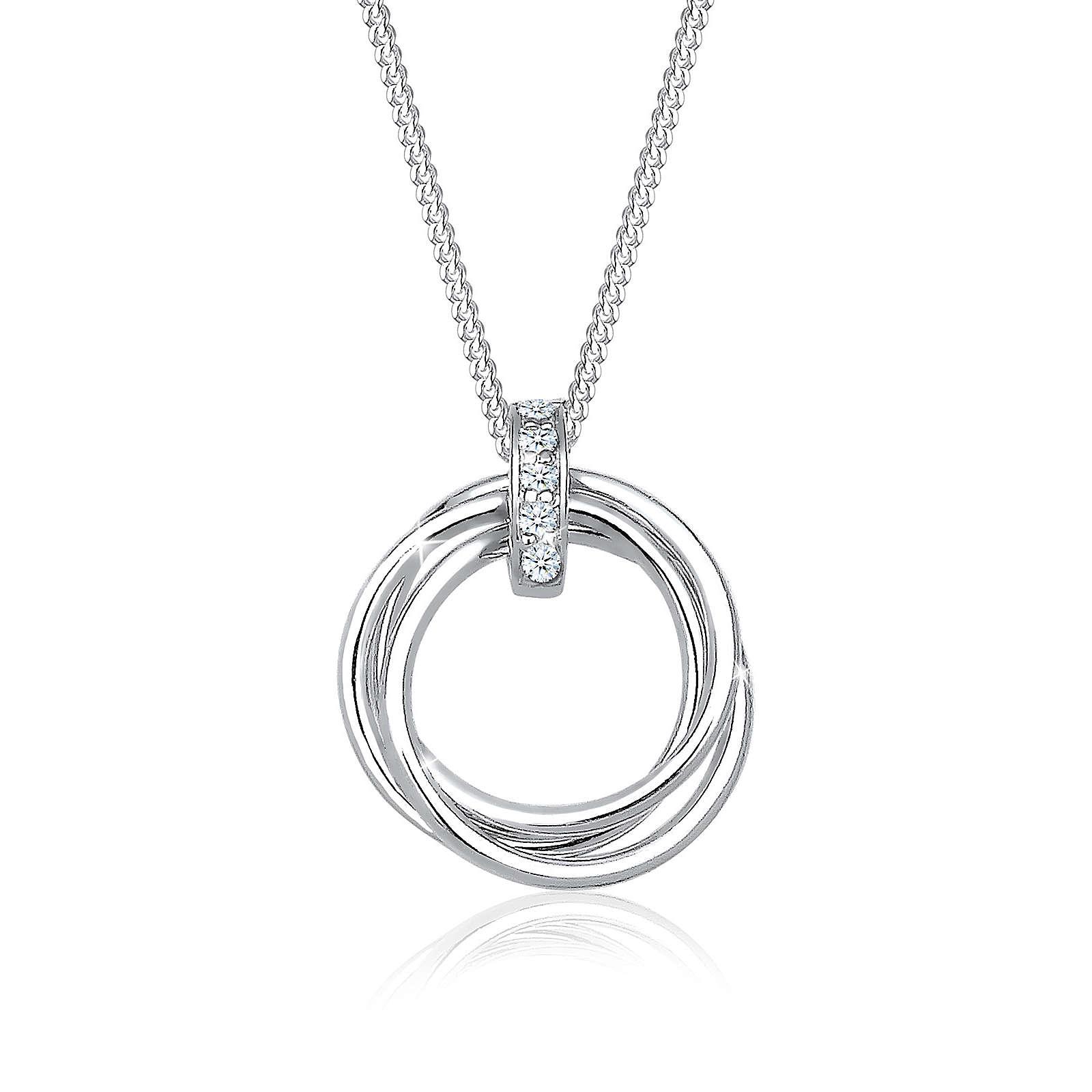 Diamore Halskette Kreis Trio Diamant (0.05 ct.) 925 Sterling Silber Halsketten weiß Damen