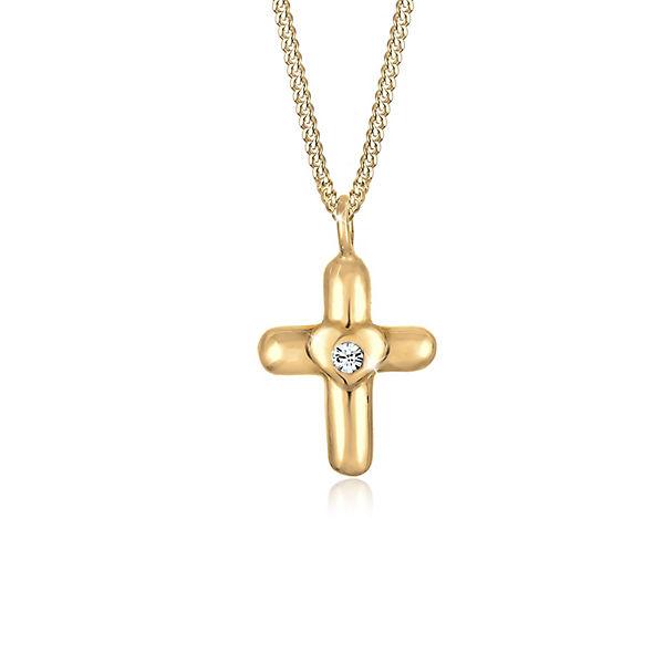 Elli Halskette Kinder Kreuz Herz Taufe Swarovski Kristall Silber Gold