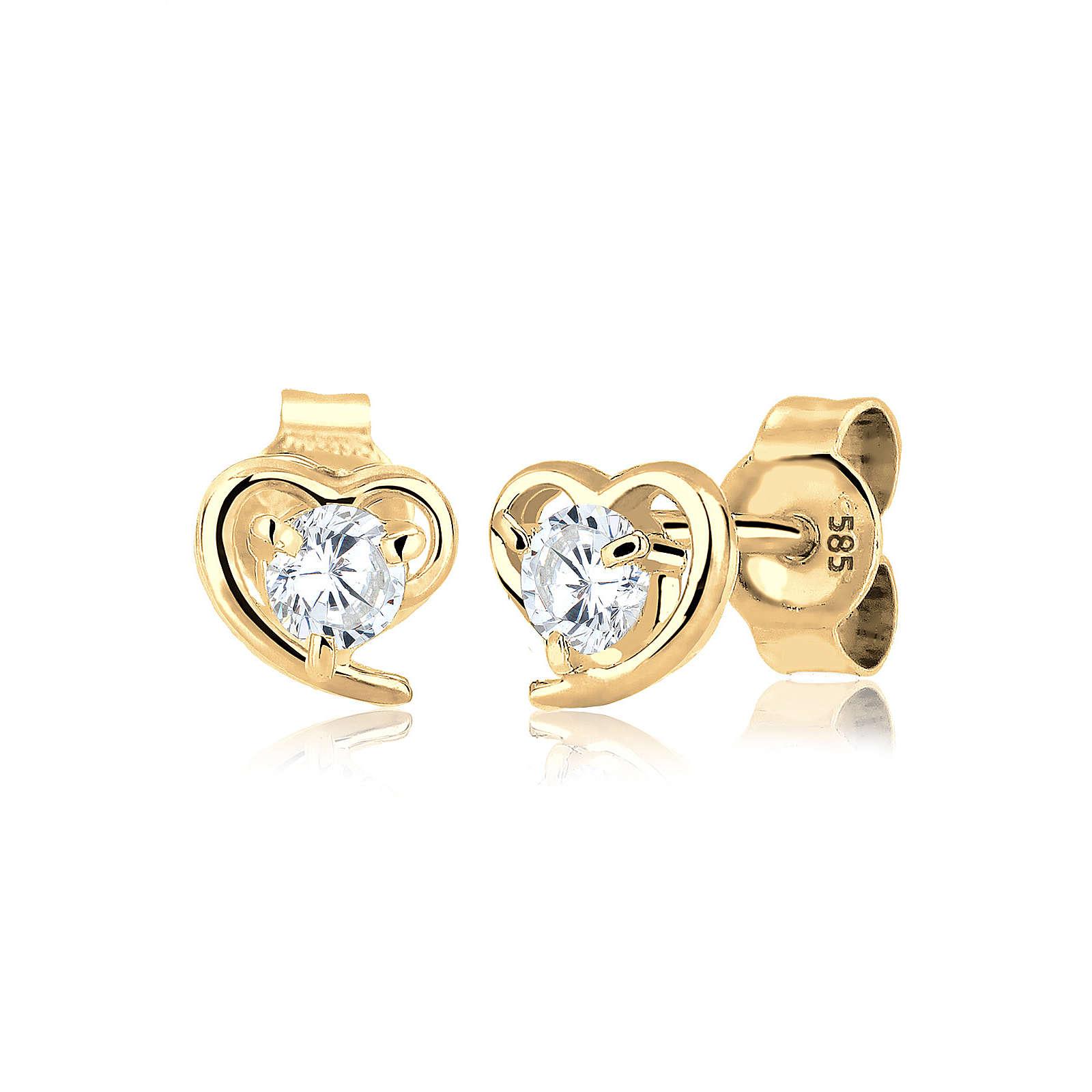 Elli PREMIUM Ohrringe Herz Zirkonia Liebe Filigran 585 Gelbgold silber Damen