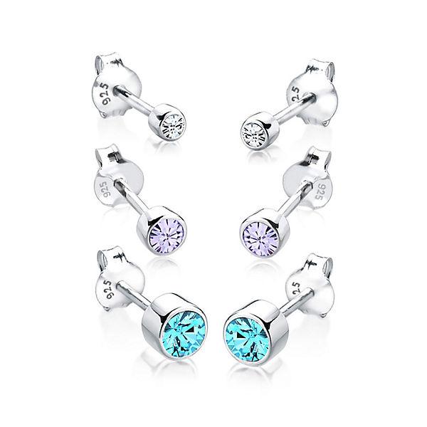Elli, Ohrringe 3er Set Swarovski® Kristalle Basic 925 Silber, blau ... fcbbb4065b