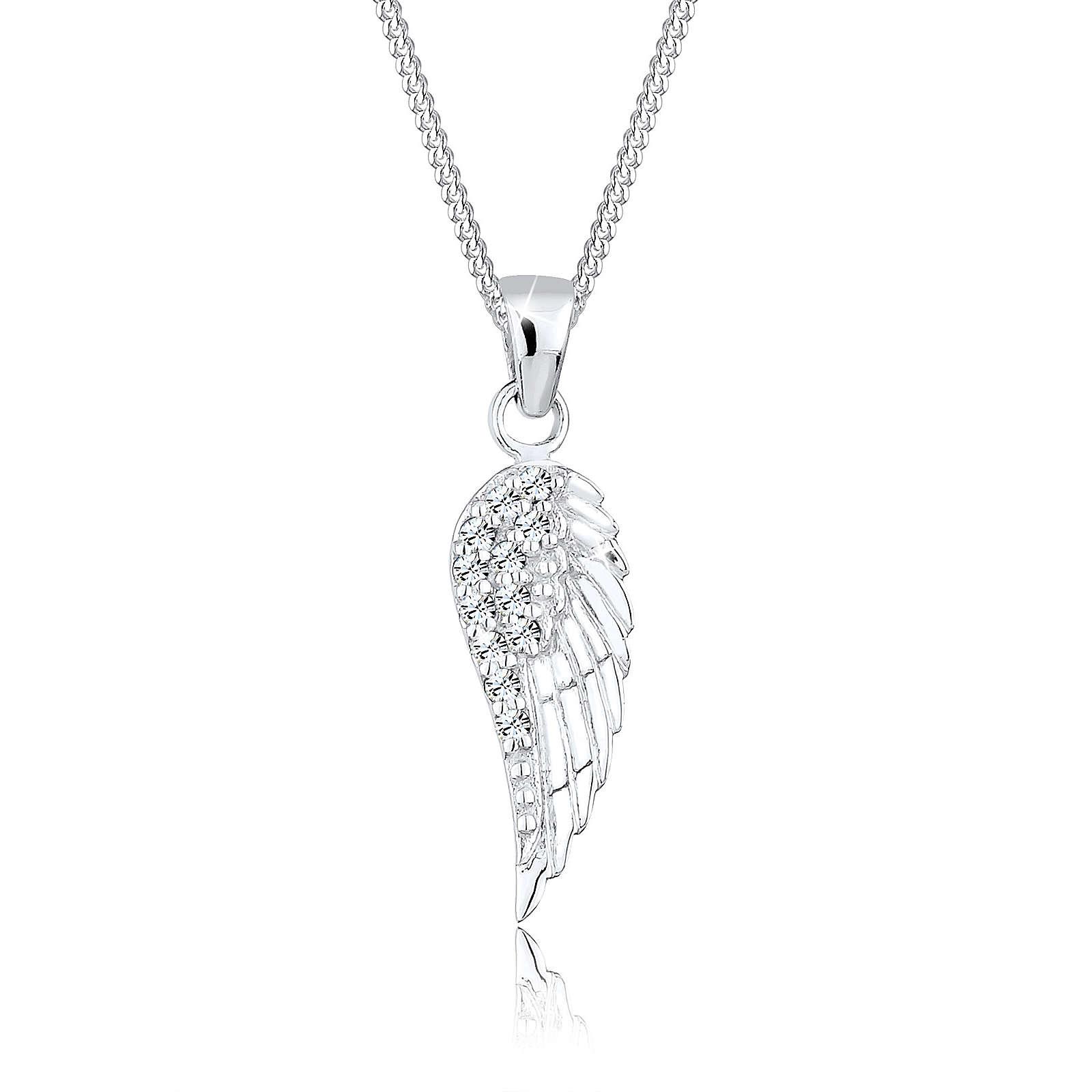 Elli Halskette Flügel Swarovski® Kristalle 925 Silber Halsketten silber Damen