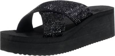 flip flop plateau cross glam Pantoletten, schwarz, schwarz
