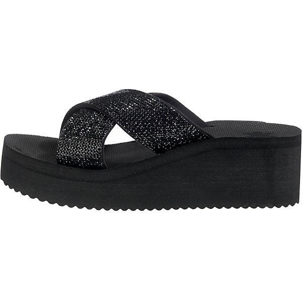 flip Pantoletten flop plateau cross glam Pantoletten flip schwarz  Gute Qualität beliebte Schuhe a0b4b1