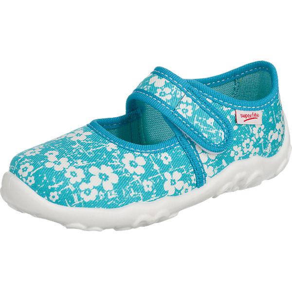 superfit Hausschuhe BONNY für Mädchen, Blumen, Weite M4 hellblau