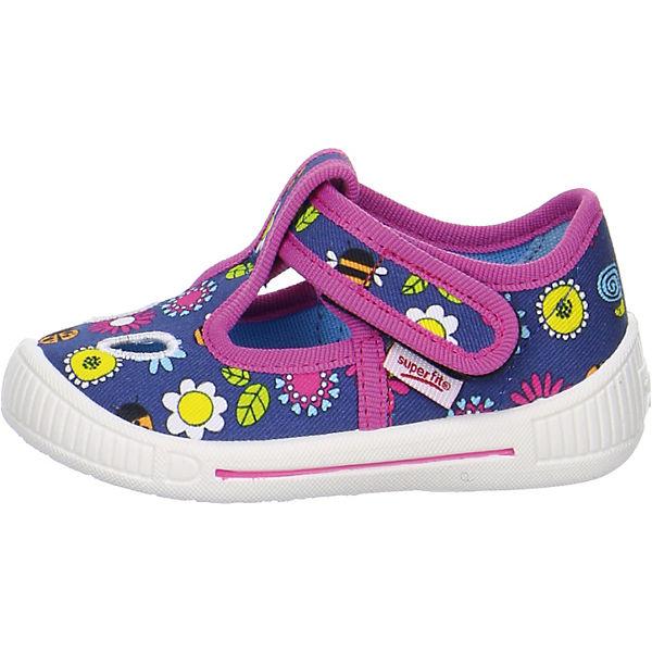 superfit Baby Hausschuhe BULLY für Mädchen, Blumen, Weite M3 blau