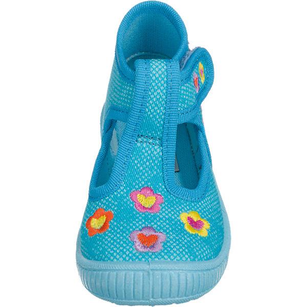superfit Baby Hausschuhe BULLY für Mädchen, Blumen, Weite M3 hellblau
