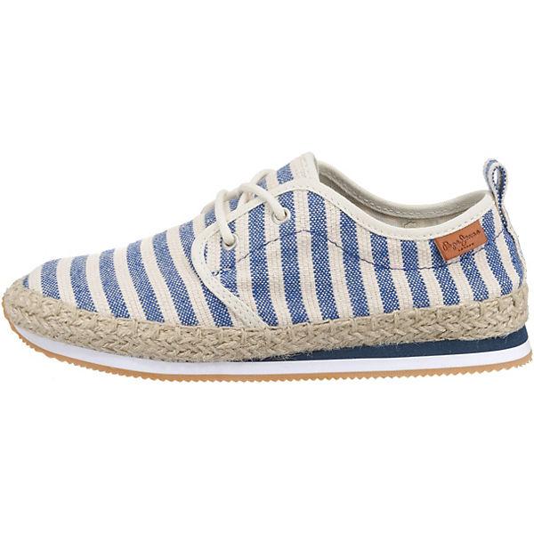 Pepe Jeans, blau/weiß BABEL W STRIPES Schnürschuhe, blau/weiß Jeans,  Gute Qualität beliebte Schuhe 2dd46c