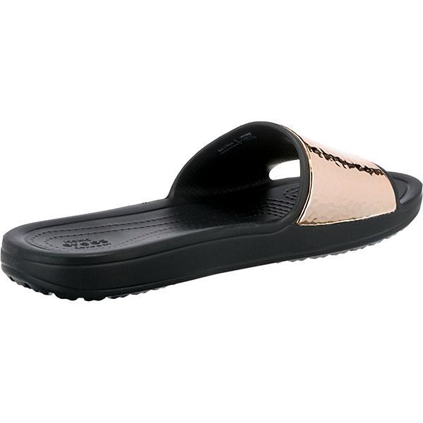 crocs Sloane Hammered Met Slide W Komfort-Pantoletten schwarz-kombi