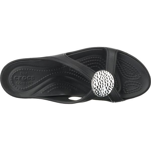 Komfort Wedge schwarz Sanrah Pantoletten Circle W crocs Hammered XfZHxPw