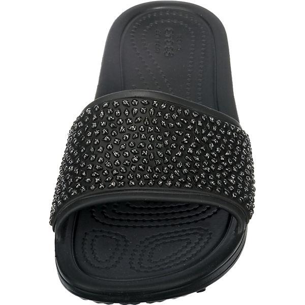 Blk Sloane schwarz Pantoletten Embellished crocs Slide Blk Crocs fxXqv8