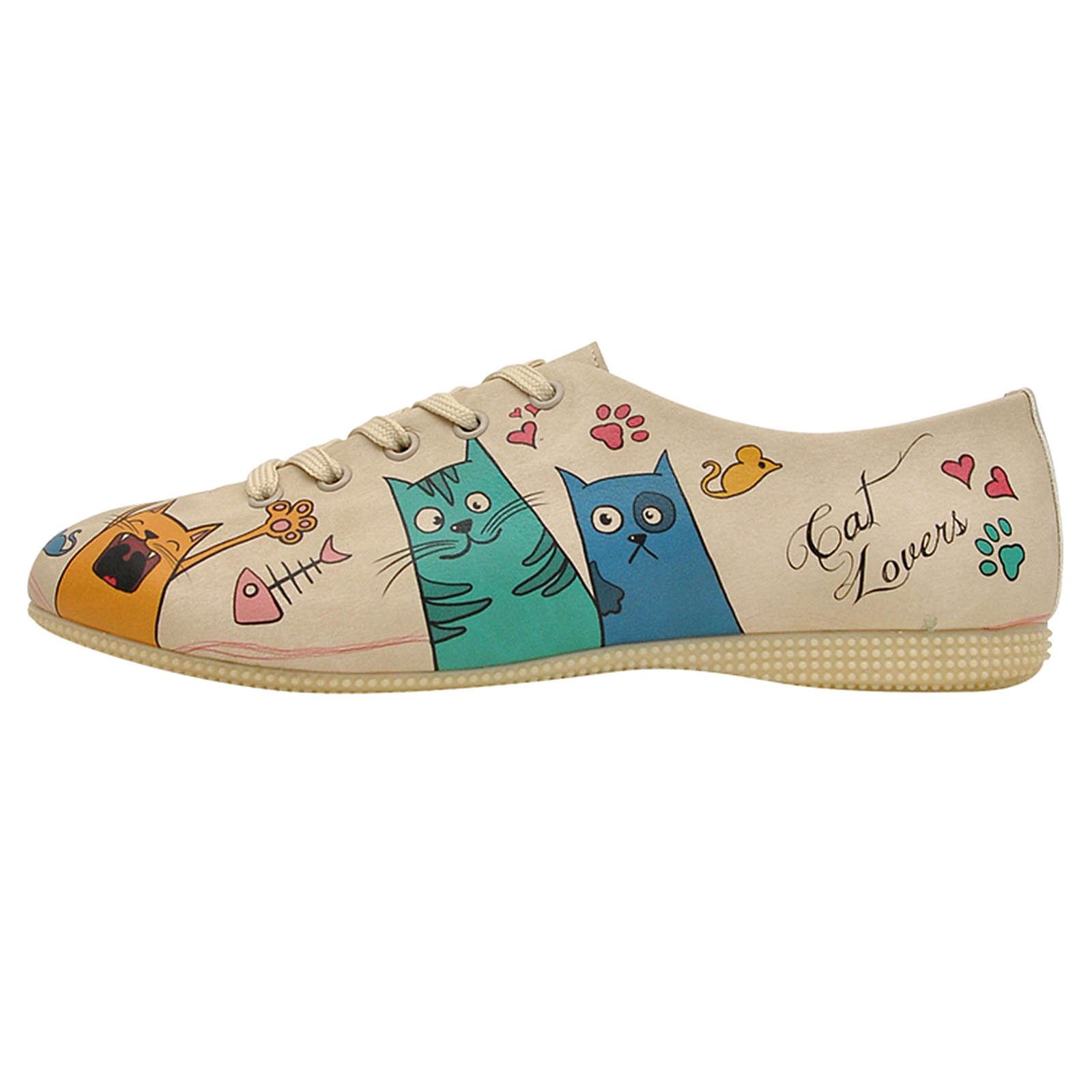 Dogo Shoes Schnürschuhe Cat Lovers mehrfarbig Damen Gr. 38