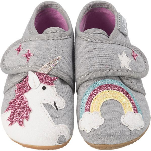 Gutes Angebot Living Kitzbühel Baby Hausschuhe für Mädchen Einhorn hellgrau